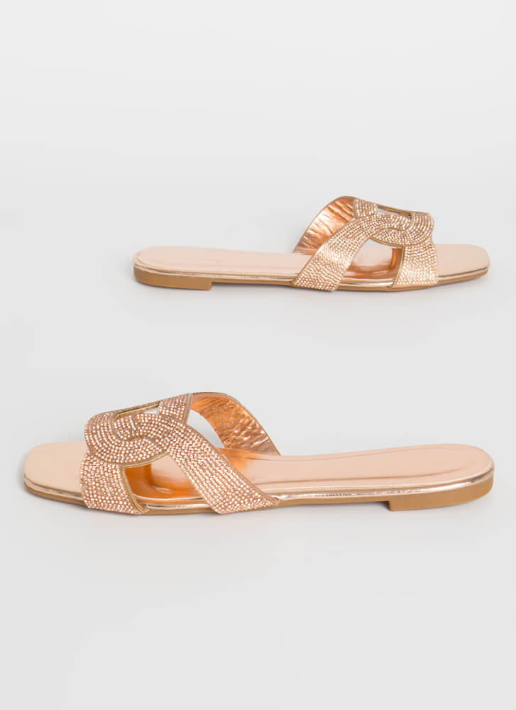 Loop Dreams Shiny Jeweled Slide Sandals ROSEGOLD