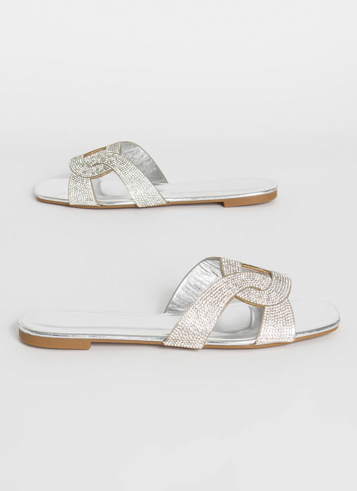 Loop Dreams Shiny Jeweled Slide Sandals SILVER