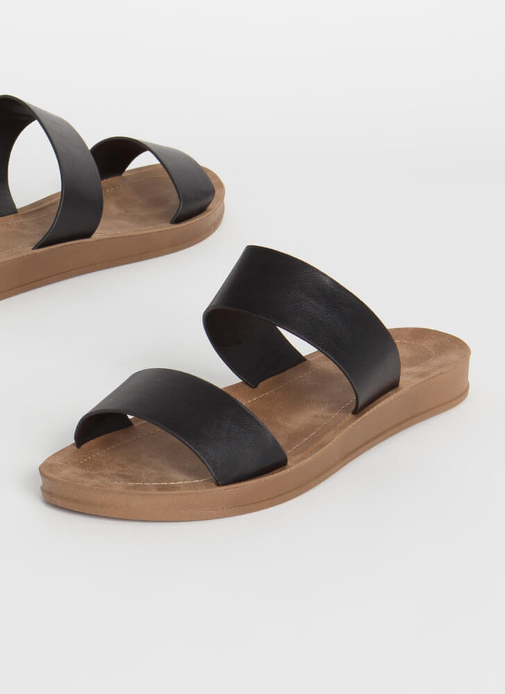 Plain And Simple Two-Strap Slide Sandals BLACK