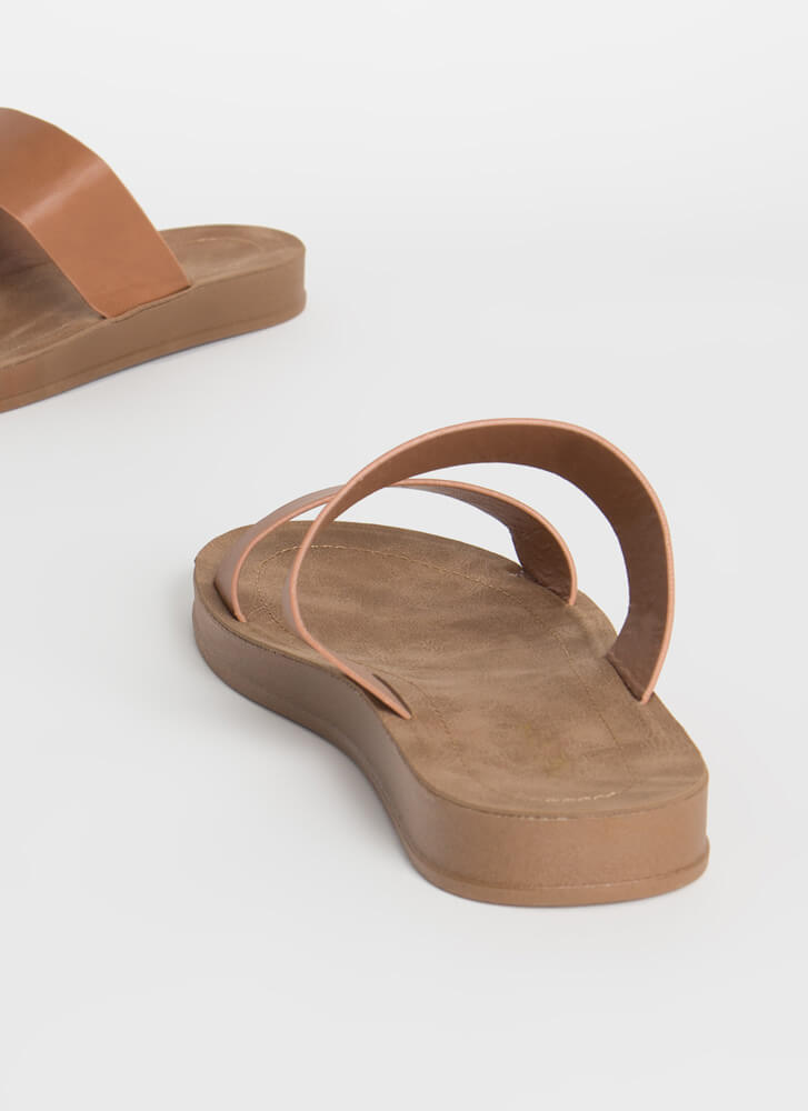 Plain And Simple Two-Strap Slide Sandals TAN