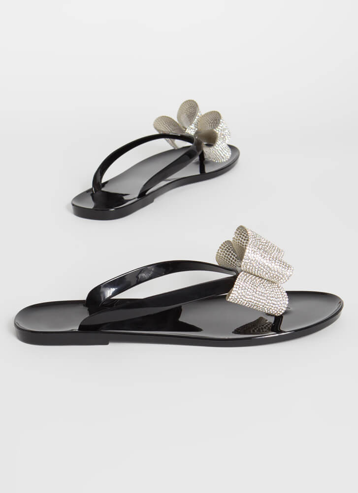 Big Bow Girl Jeweled Jelly Thong Sandals BLACK