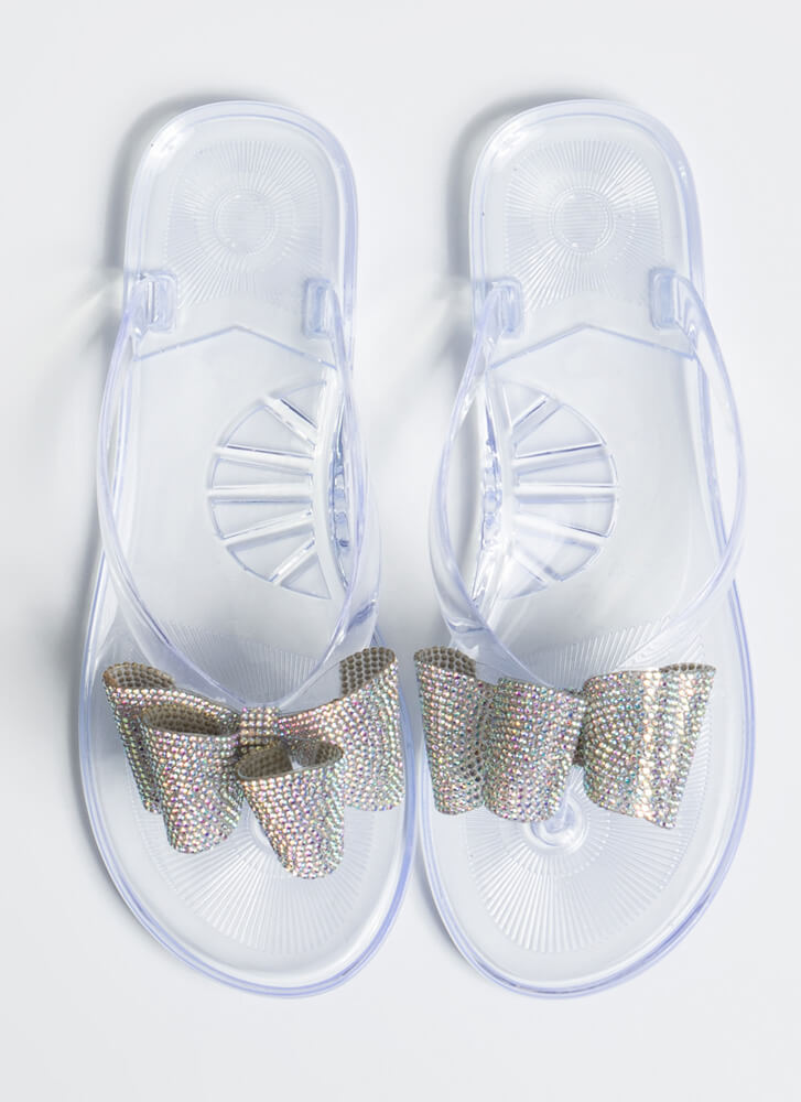Big Bow Girl Jeweled Jelly Thong Sandals CLEAR