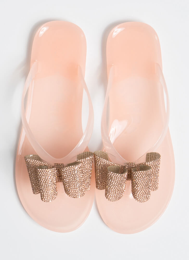 Big Bow Girl Jeweled Jelly Thong Sandals NUDE