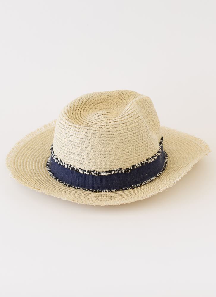 Hay There Fringe-Trimmed Straw Hat BEIGE
