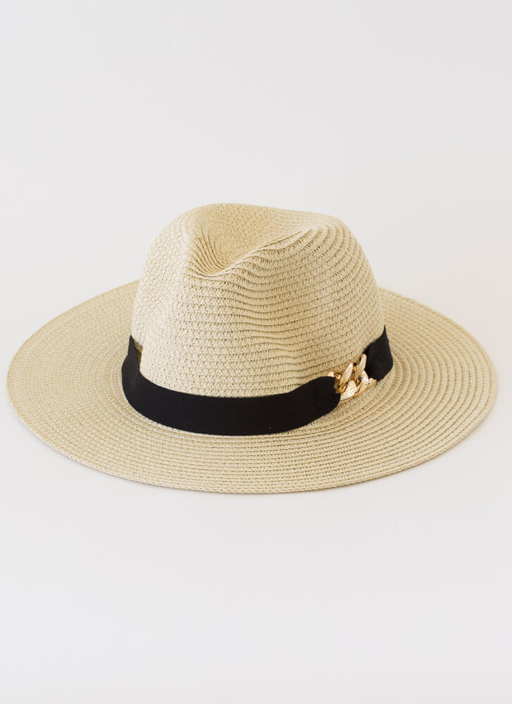 Linking Of You Chain Trim Straw Hat IVORY
