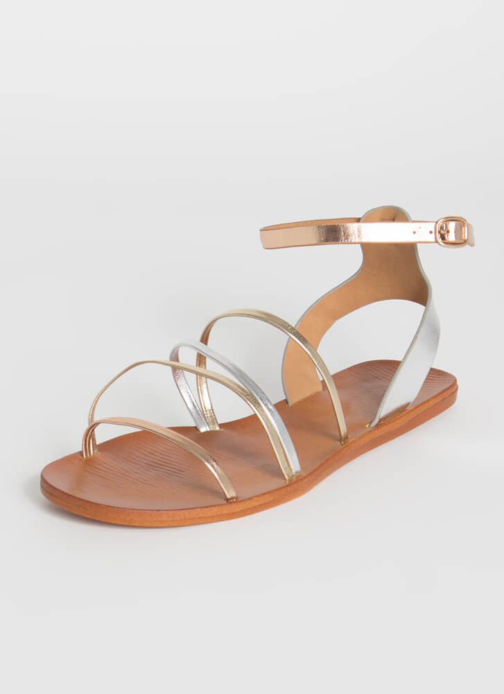 Four Your Eyes Only Shiny Strap Sandals METALLIC