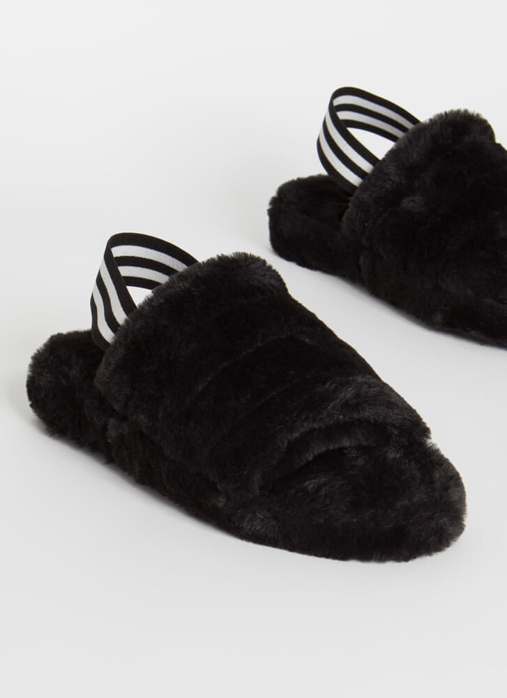 Cloudy Day Furry Slingback Sandals BLACK