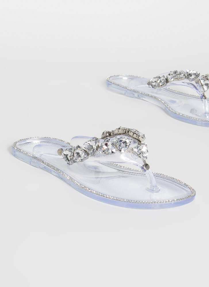 More Jewels Jelly Thong Sandals CLEAR