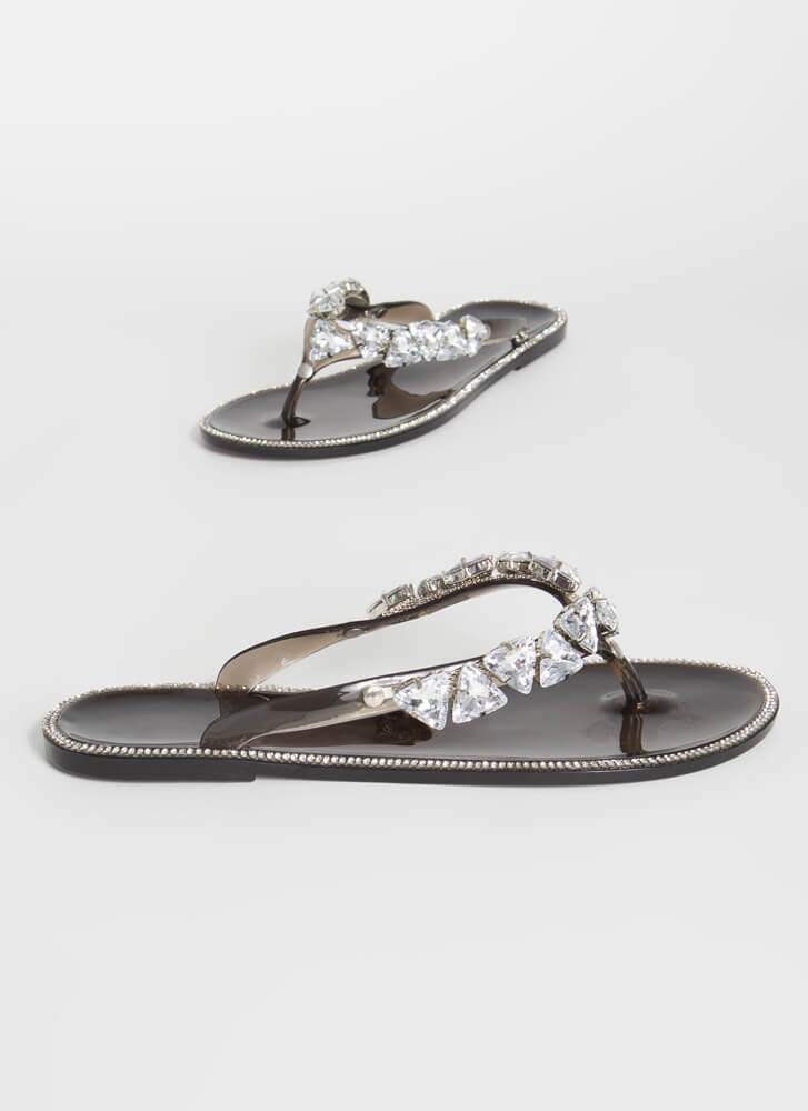 More Jewels Jelly Thong Sandals SMOKE
