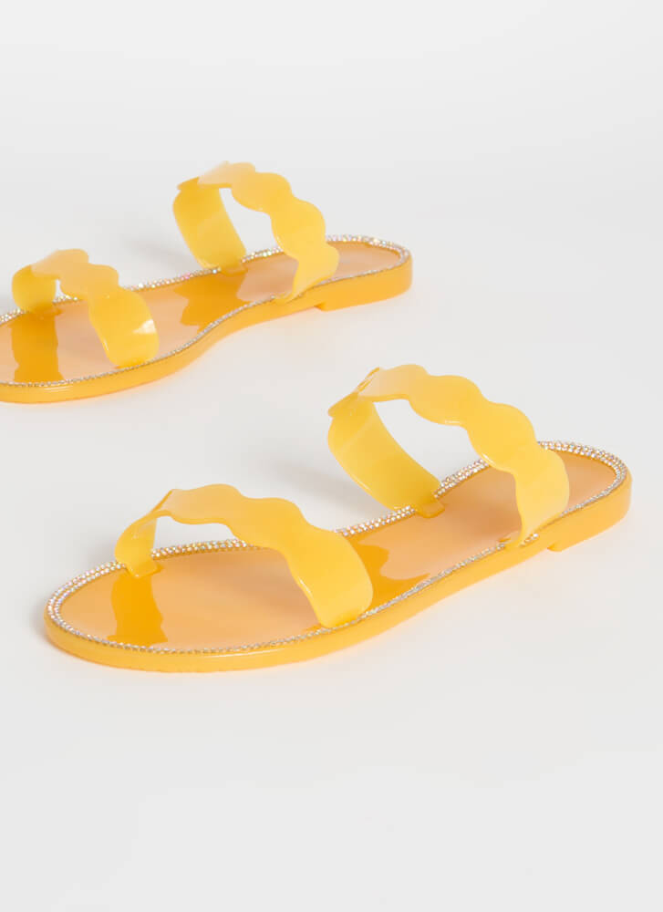 Get Wavy Jeweled Jelly Slide Sandals AMBER
