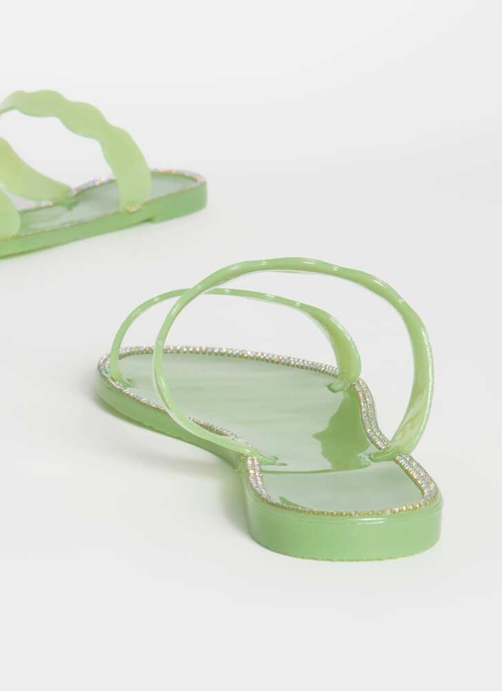 Get Wavy Jeweled Jelly Slide Sandals MINT