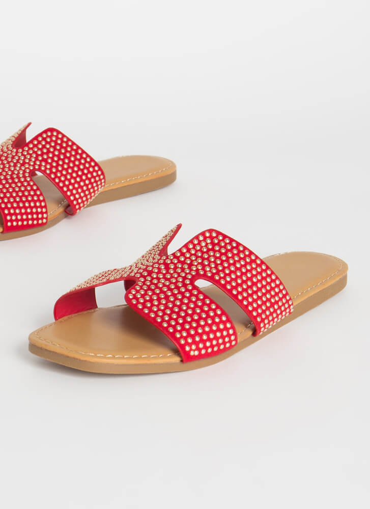 Morocco Studded Cut-Out Slide Sandals RED
