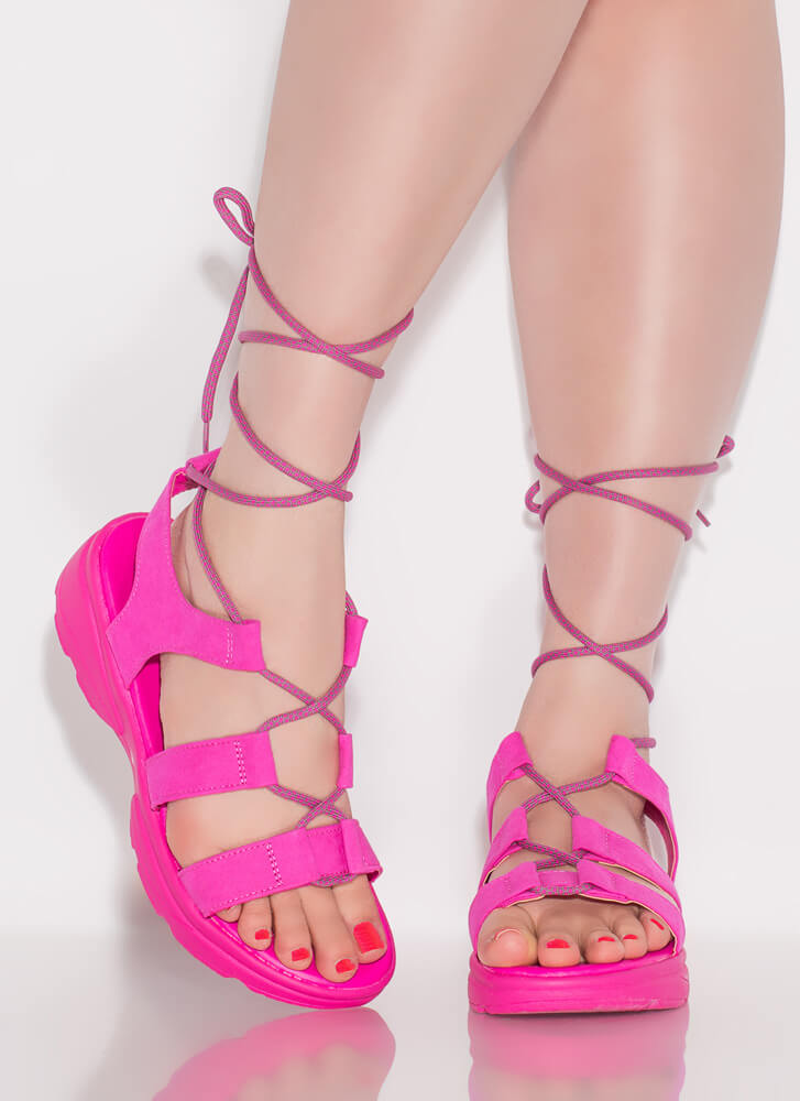Get Sporty Faux Suede Lace-Up Sandals HOTPINK