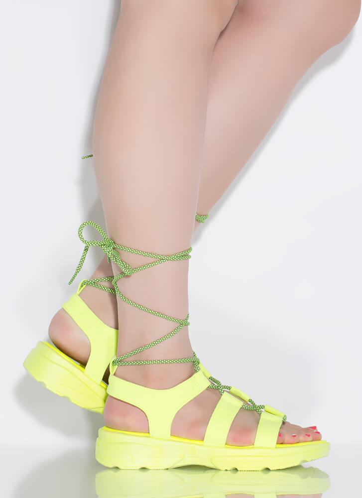 Get Sporty Faux Suede Lace-Up Sandals NYELLOW