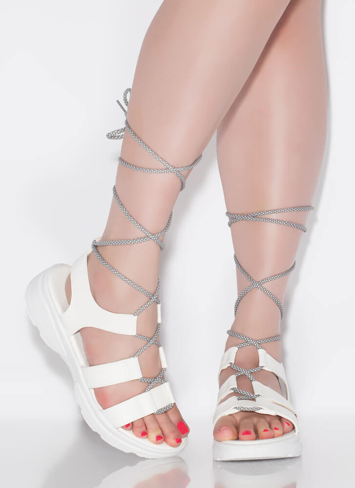 Get Sporty Faux Leather Lace-Up Sandals WHITE