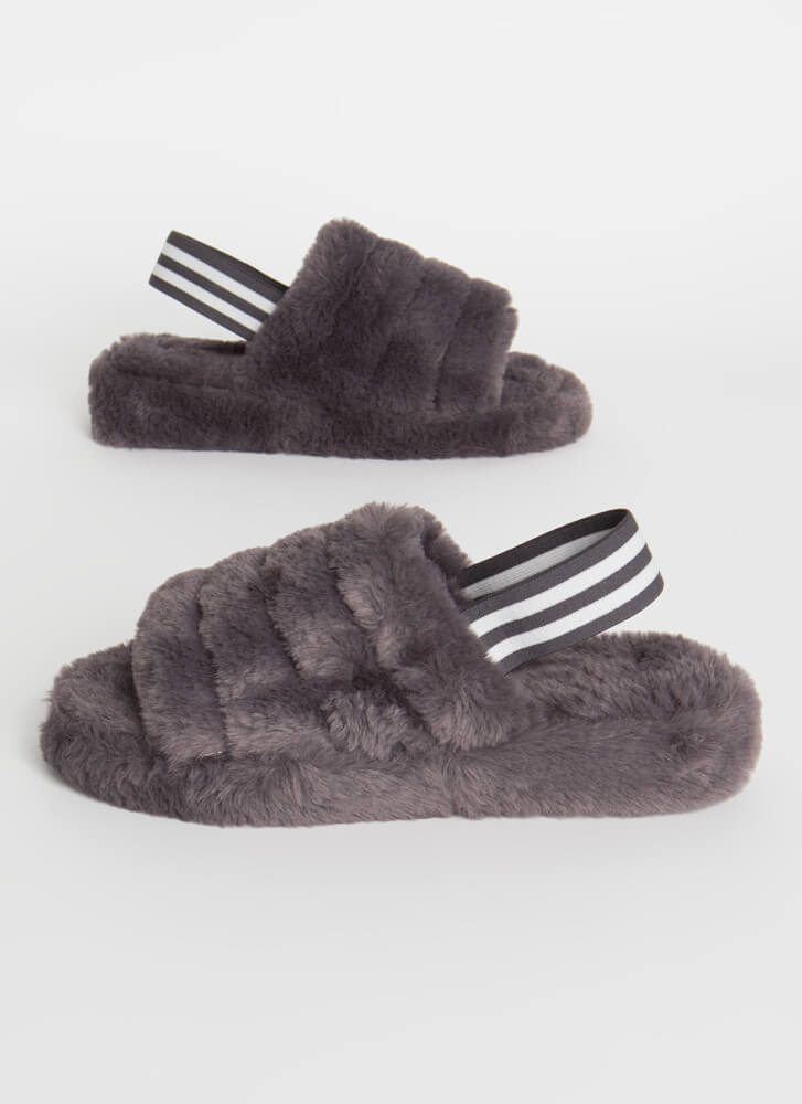 Cloudy Weather Furry Slingback Sandals DKGREY