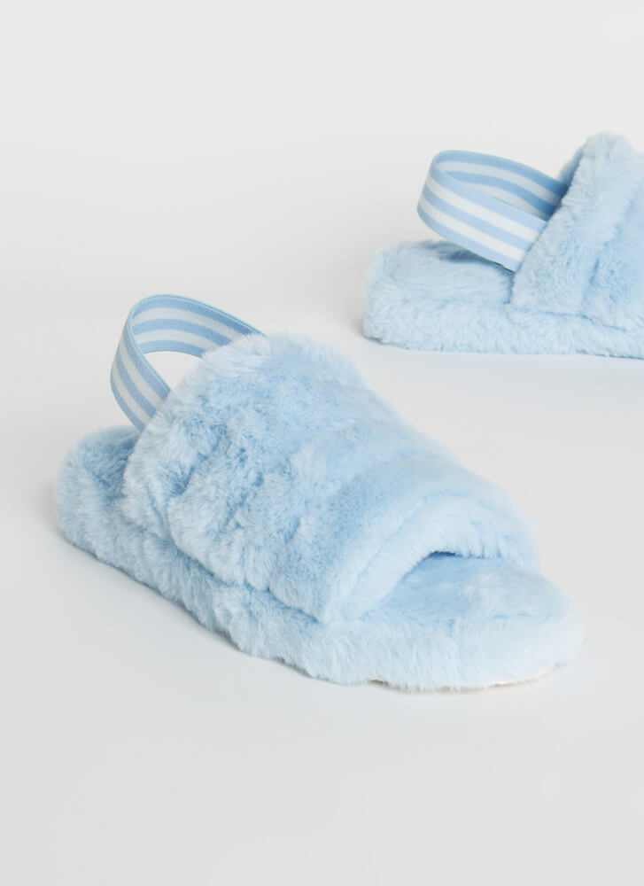 Cloudy Skies Furry Slingback Sandals LTBLUE