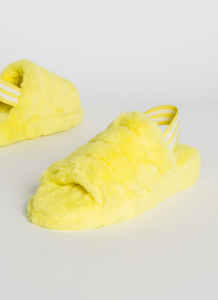 Sun And Clouds Furry Slingback Sandals YELLOW