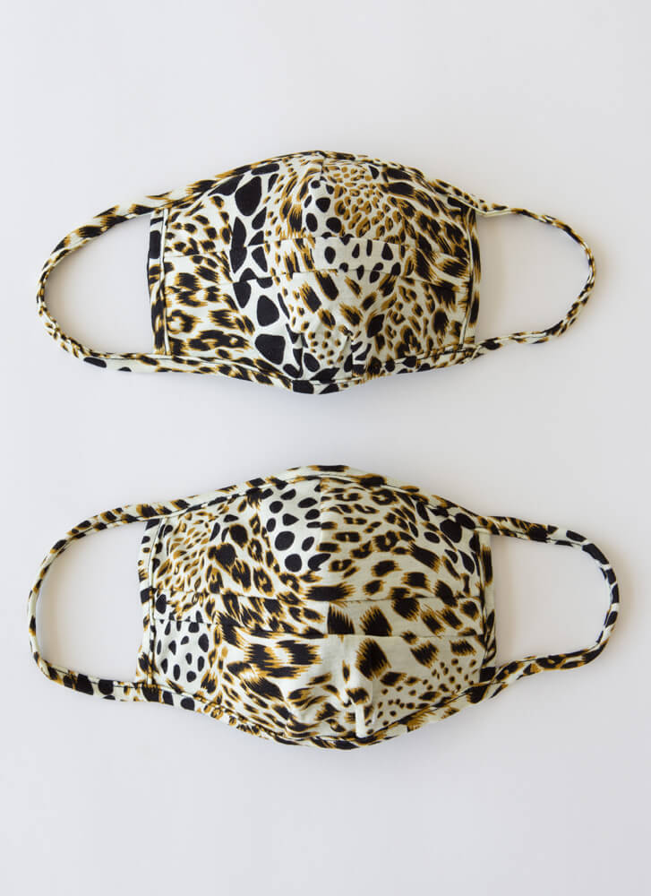 Pocket It 2-Pack Leopard Face Masks LEOPARD