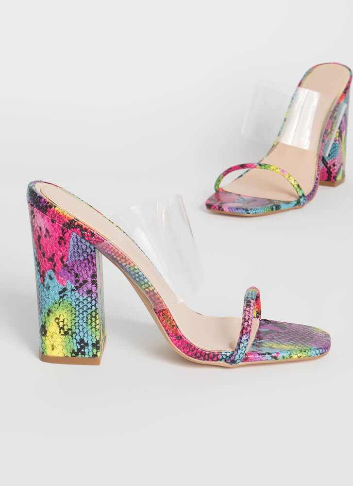 Clearly Beloved Chunky Illusion Heels MULTI