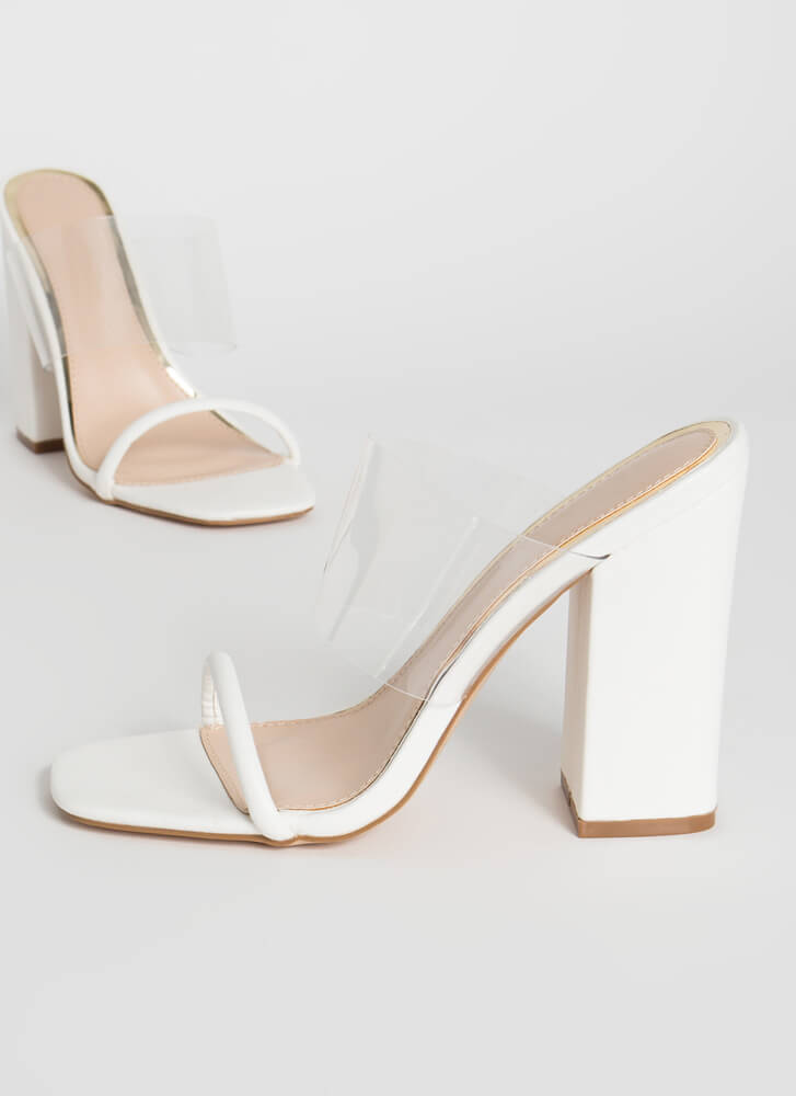 Clearly Beloved Chunky Illusion Heels WHITE