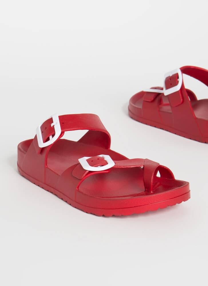 Best Of Both Worlds Thong Slide Sandals RED