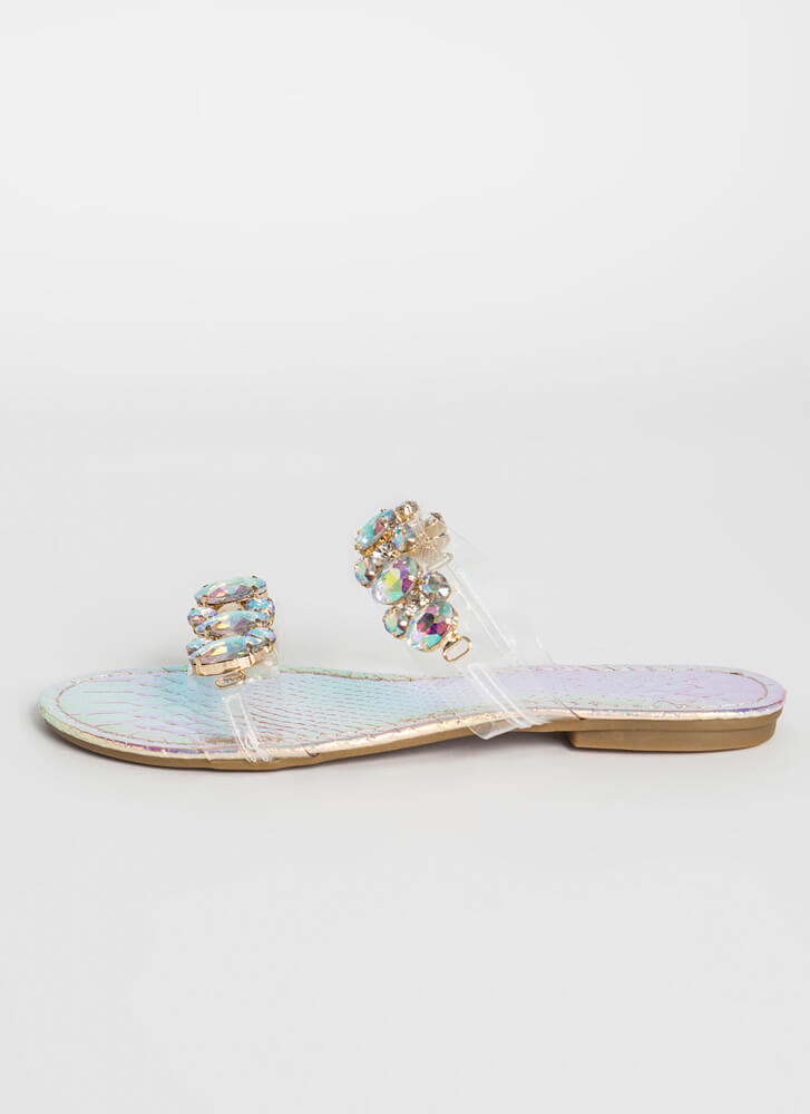 All Jewels Holographic Slide Sandals PINK