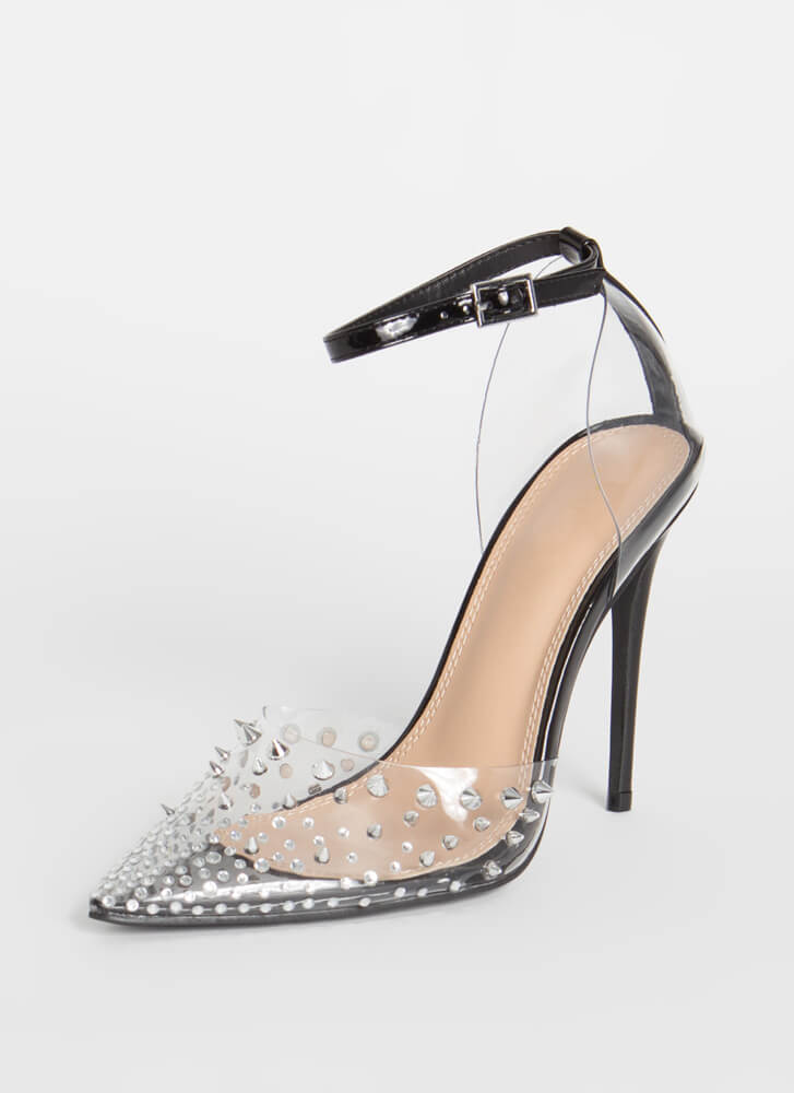 So Special Studded Jeweled Clear Heels BLACK