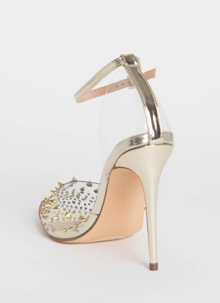 So Special Studded Jeweled Clear Heels GOLD