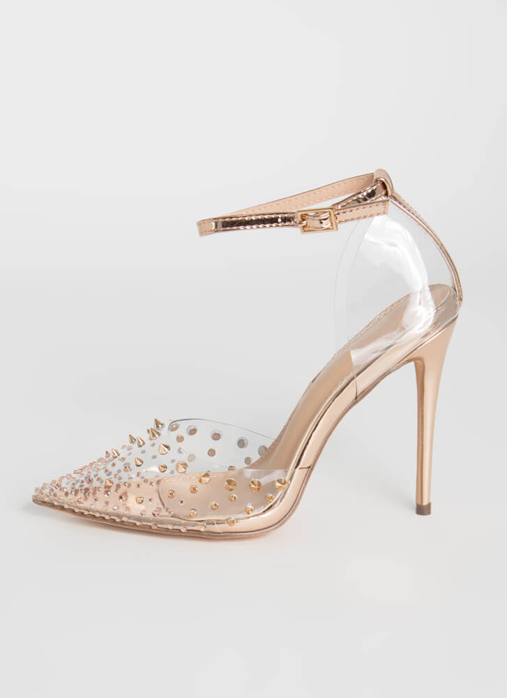 So Special Studded Jeweled Clear Heels ROSEGOLD