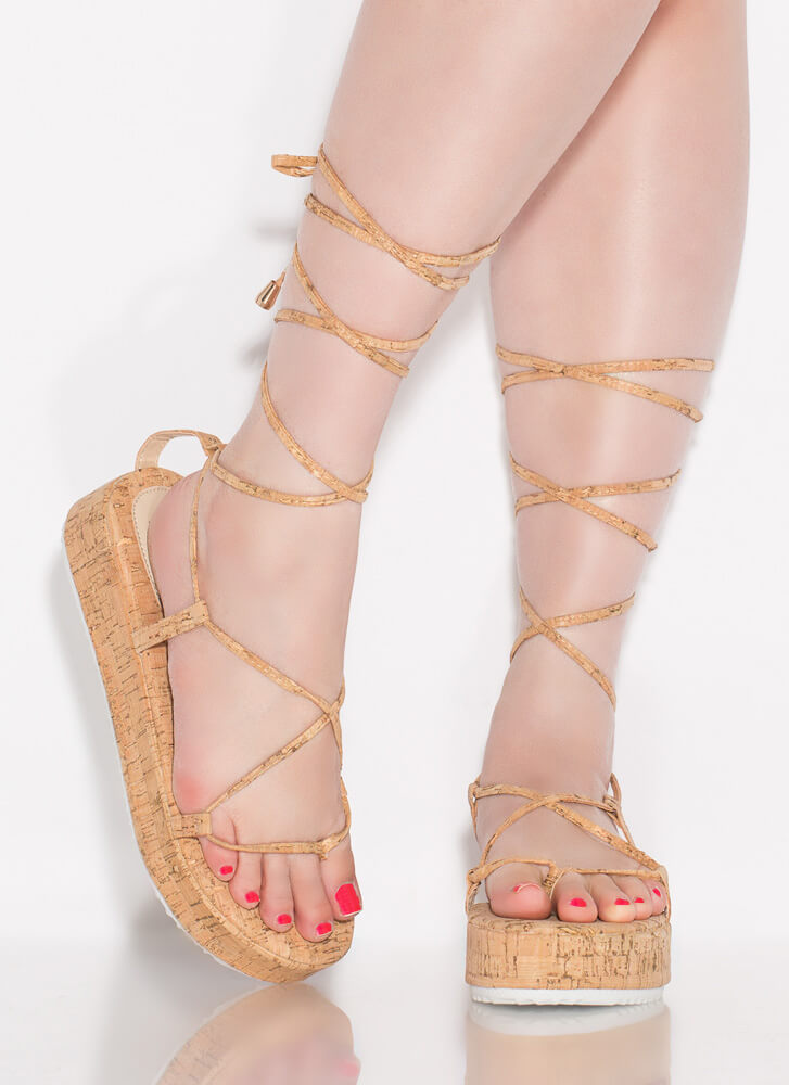 Tie It Lace-Up Cork Platform Sandals CORK