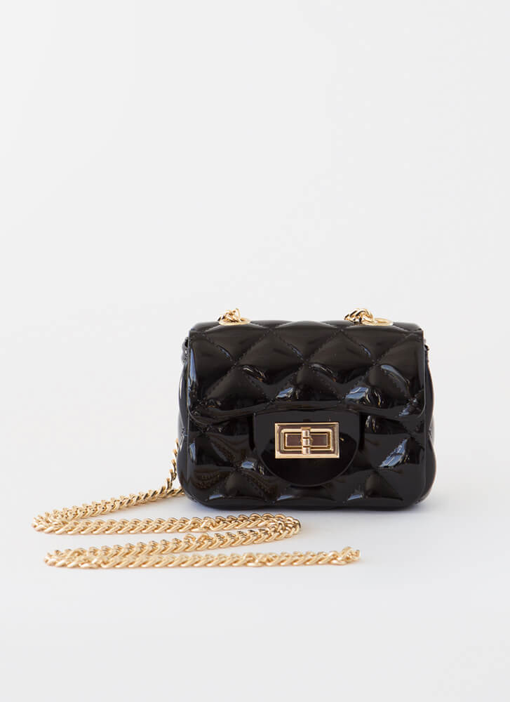 Mini Me Tiny Faux Quilted Jelly Purse BLACK