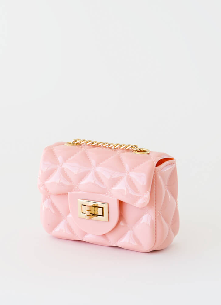 Mini Me Tiny Faux Quilted Jelly Purse PINK