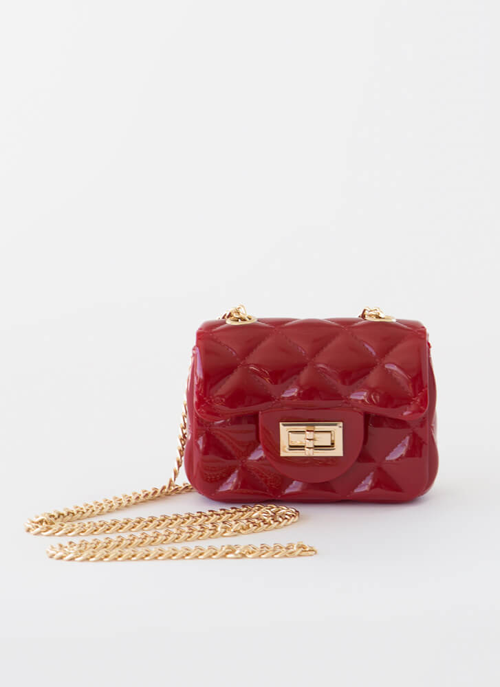 Mini Me Tiny Faux Quilted Jelly Purse RED