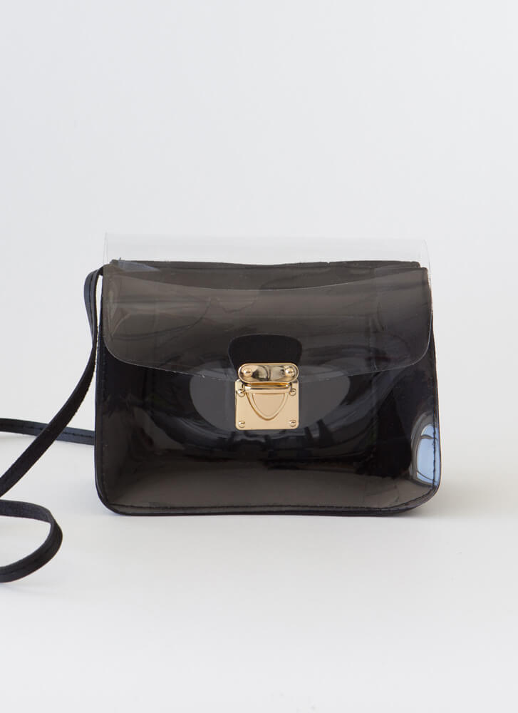 It's Clear To Me Faux Leather Purse BLACK