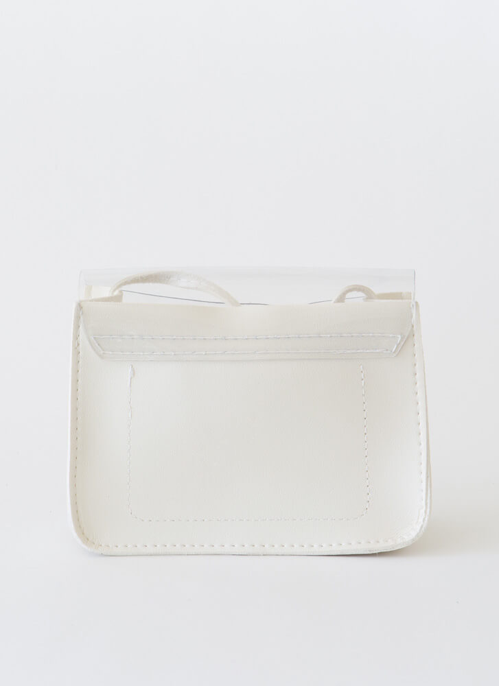 It's Clear To Me Faux Leather Purse WHITE