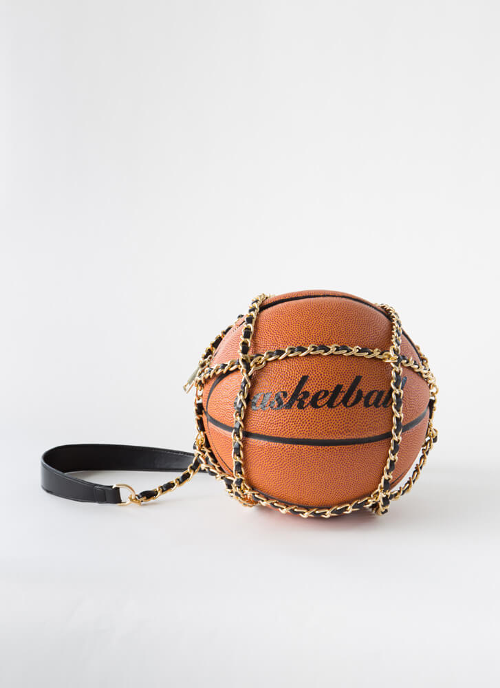 Free Throw Chained Basketball Handbag ORANGE