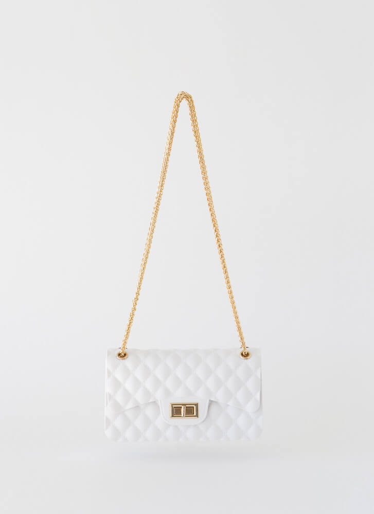 New Classic Faux Quilted Jelly Purse WHITE
