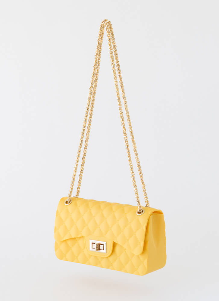 New Classic Faux Quilted Jelly Purse YELLOW