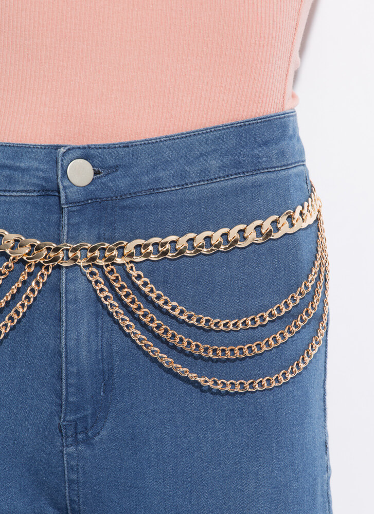That Extra Something Draped Chain Belt GOLD
