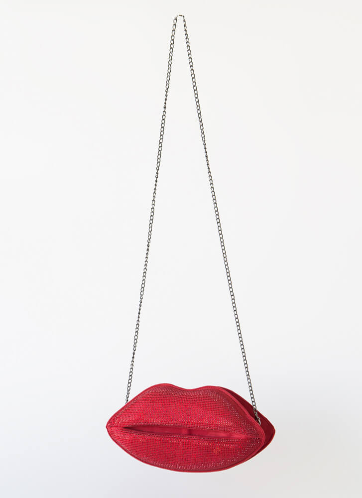 Pucker Up Jeweled Lips Clutch RED