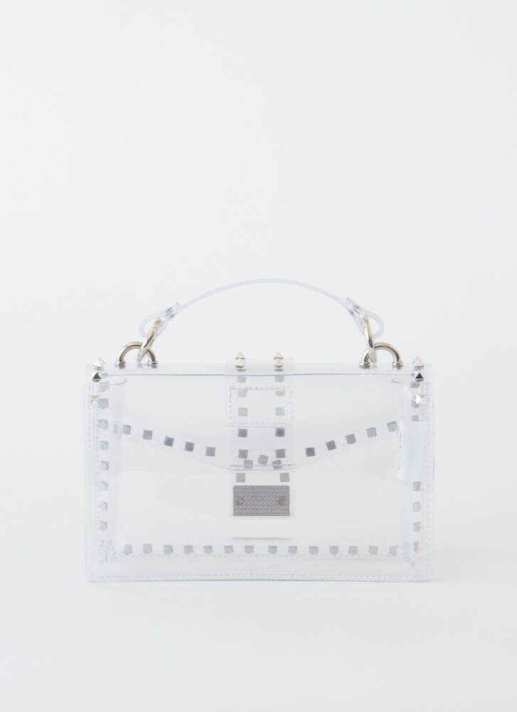 Edged Out Studded Clear Handbag CLEARSILVER