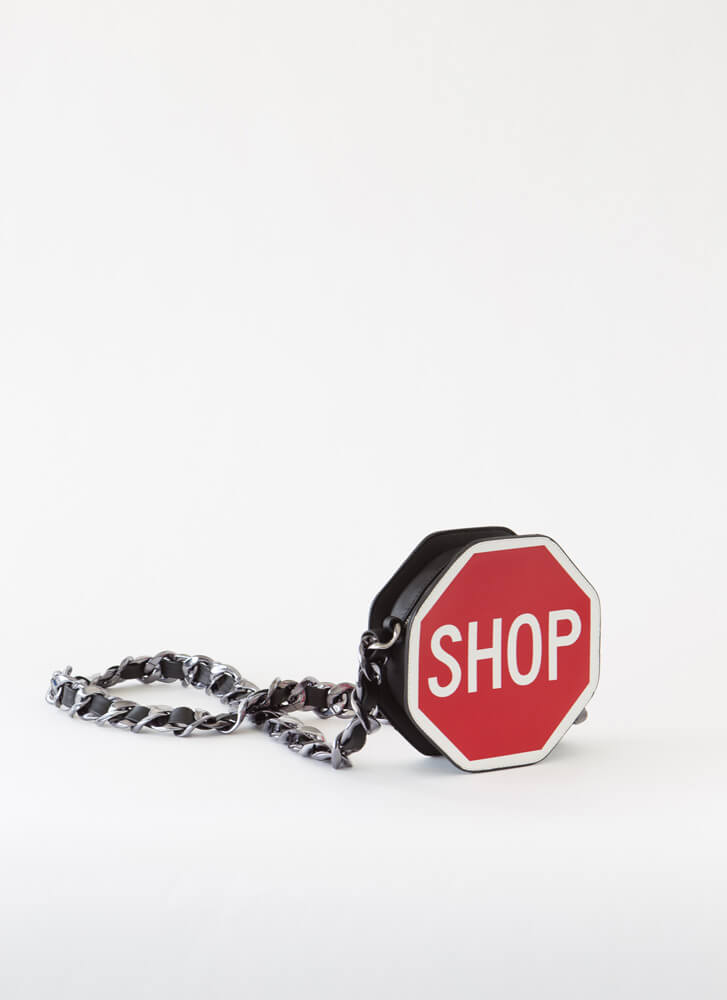Stop And Shop Chain Strap Purse RED