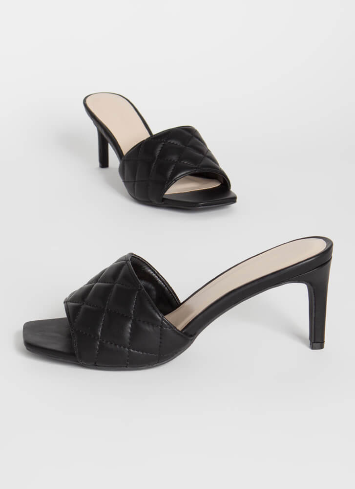 Quilting Class Faux Leather Mule Heels BLACK