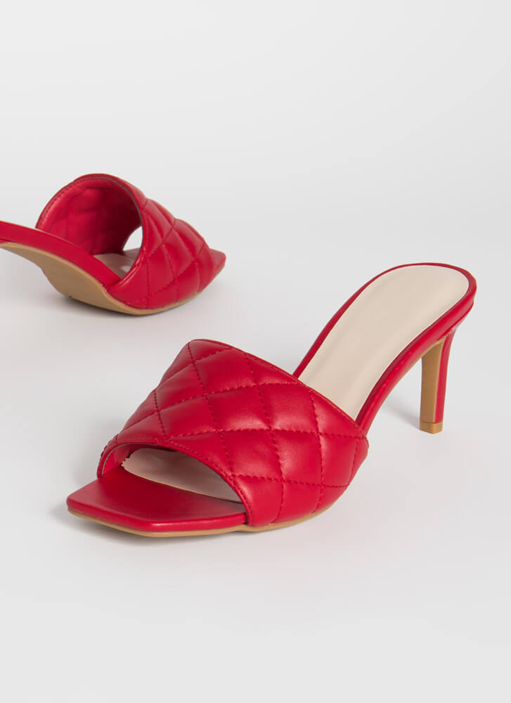 Quilting Class Faux Leather Mule Heels RED