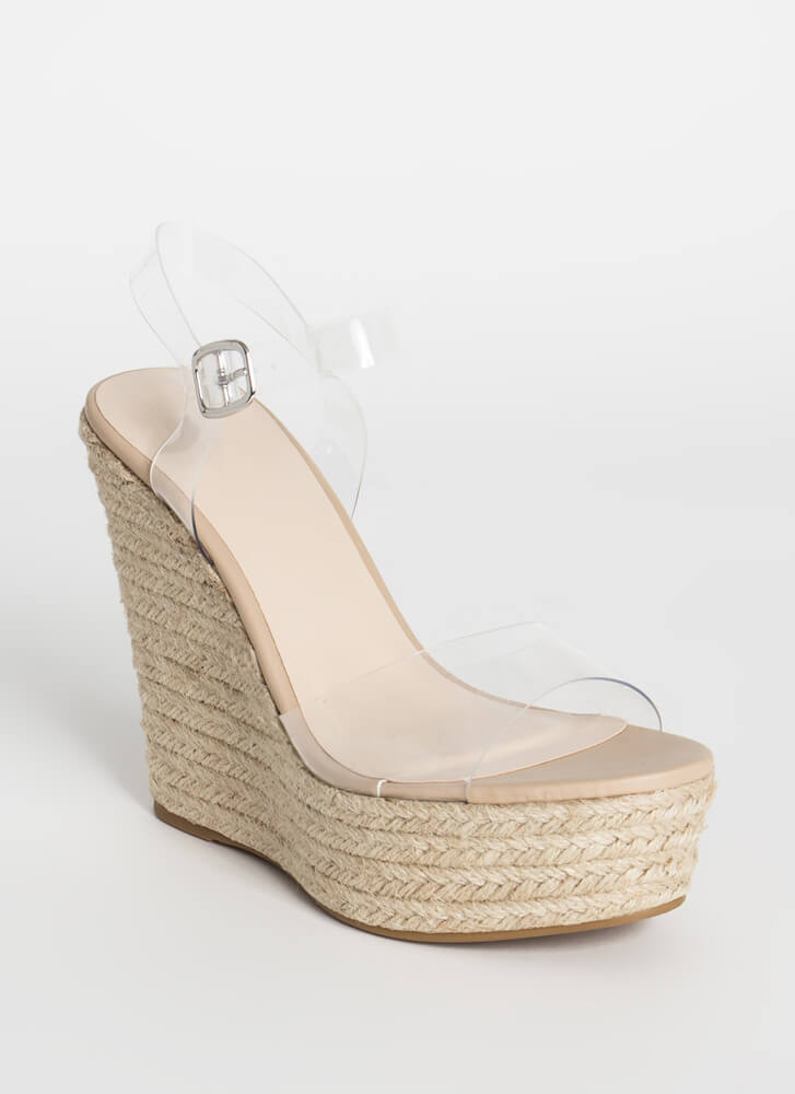 Clear Thinking Braided Platform Wedges CLEAR