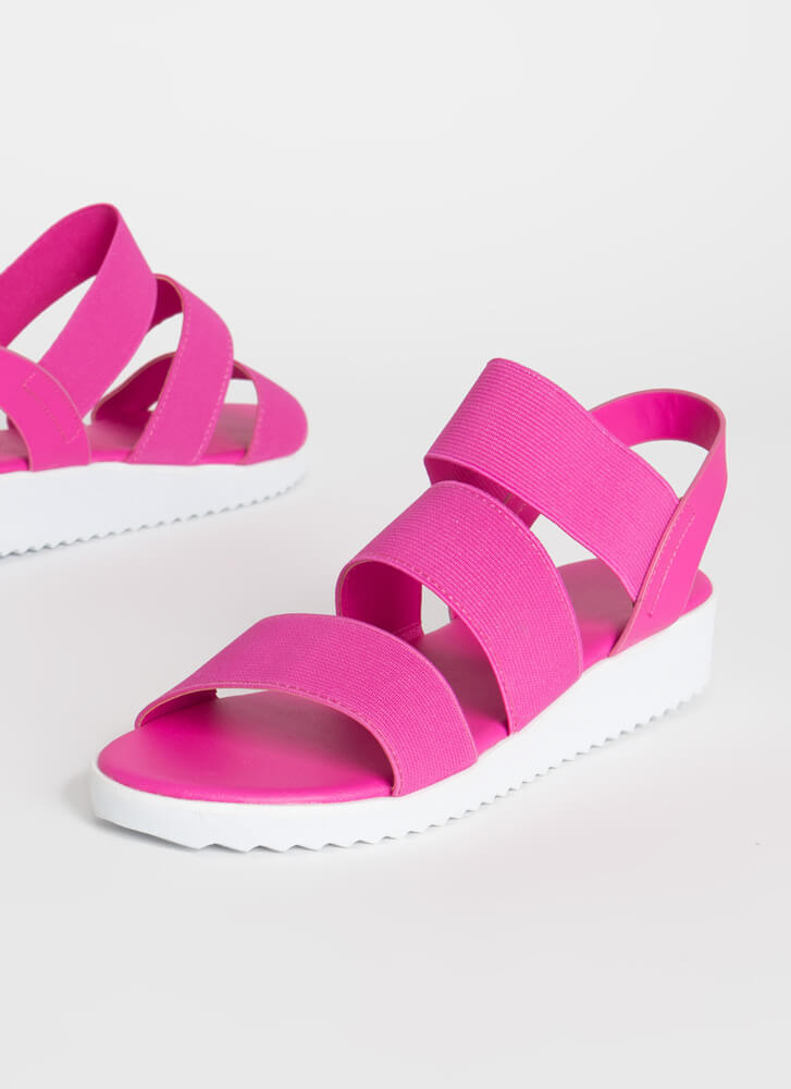 Stay Out All Day Elastic Strap Sandals HOTPINK
