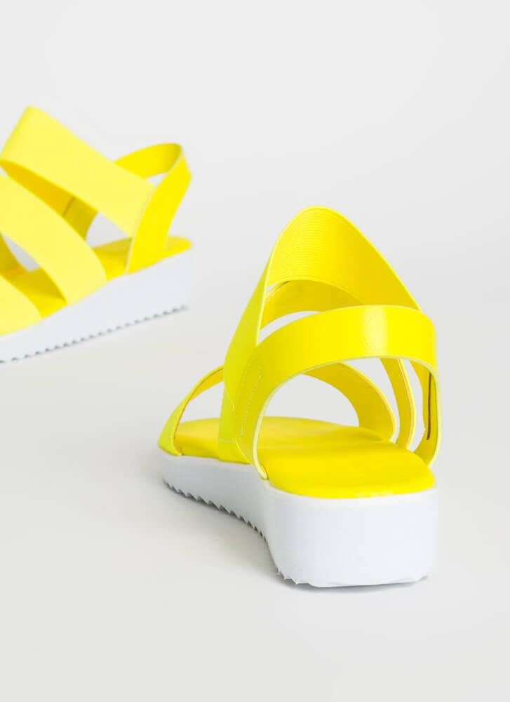 Stay Out All Day Elastic Strap Sandals NEONYELLOW