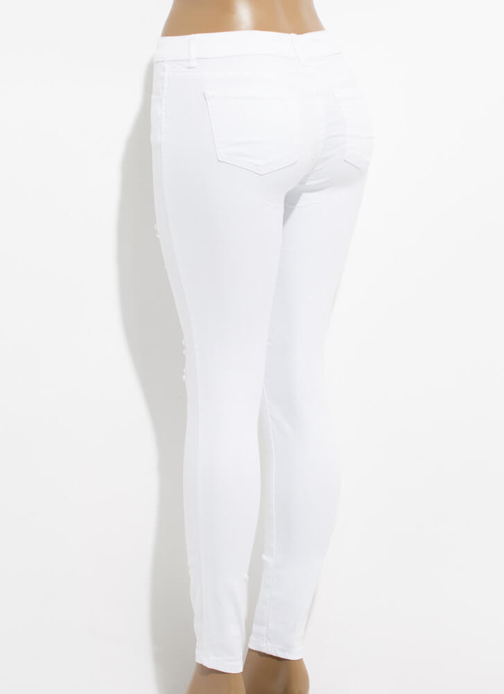 Slits Gonna Be Okay Distressed Jeggings WHITE