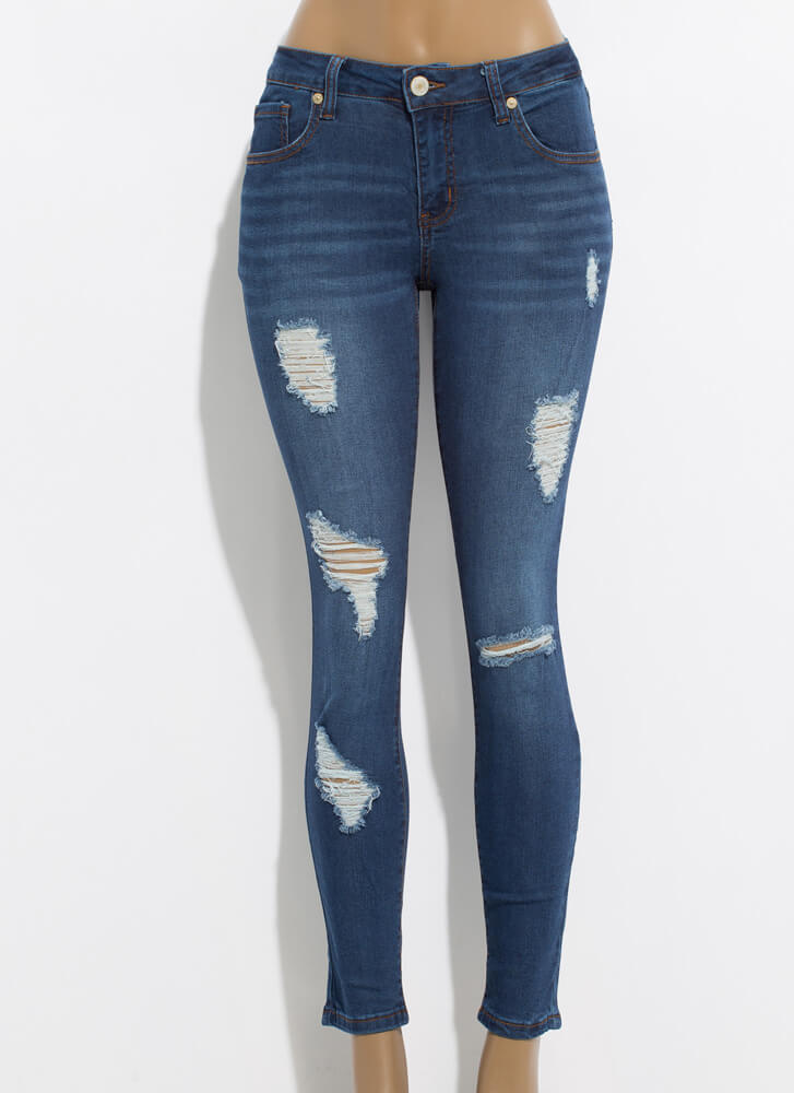 The Everyday Distressed Skinny Jeans DKBLUE